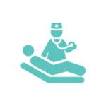 ícone verde representando médico analisando o paciente para fazer exame de tomografia na globalmed